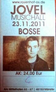 Ticket des Bosse Konzerts in Münster